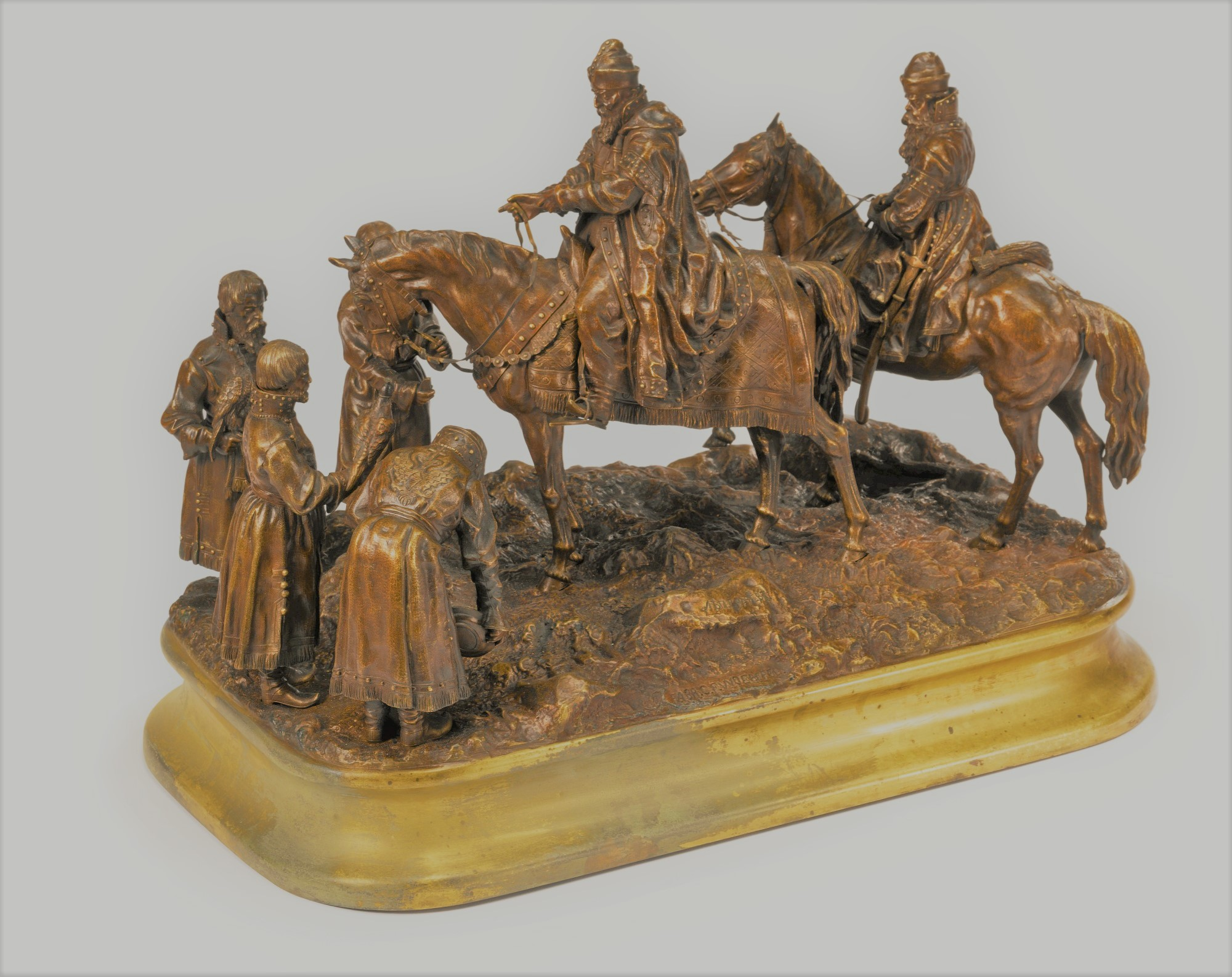 Vasily Grachev Hunting party Russian bronze