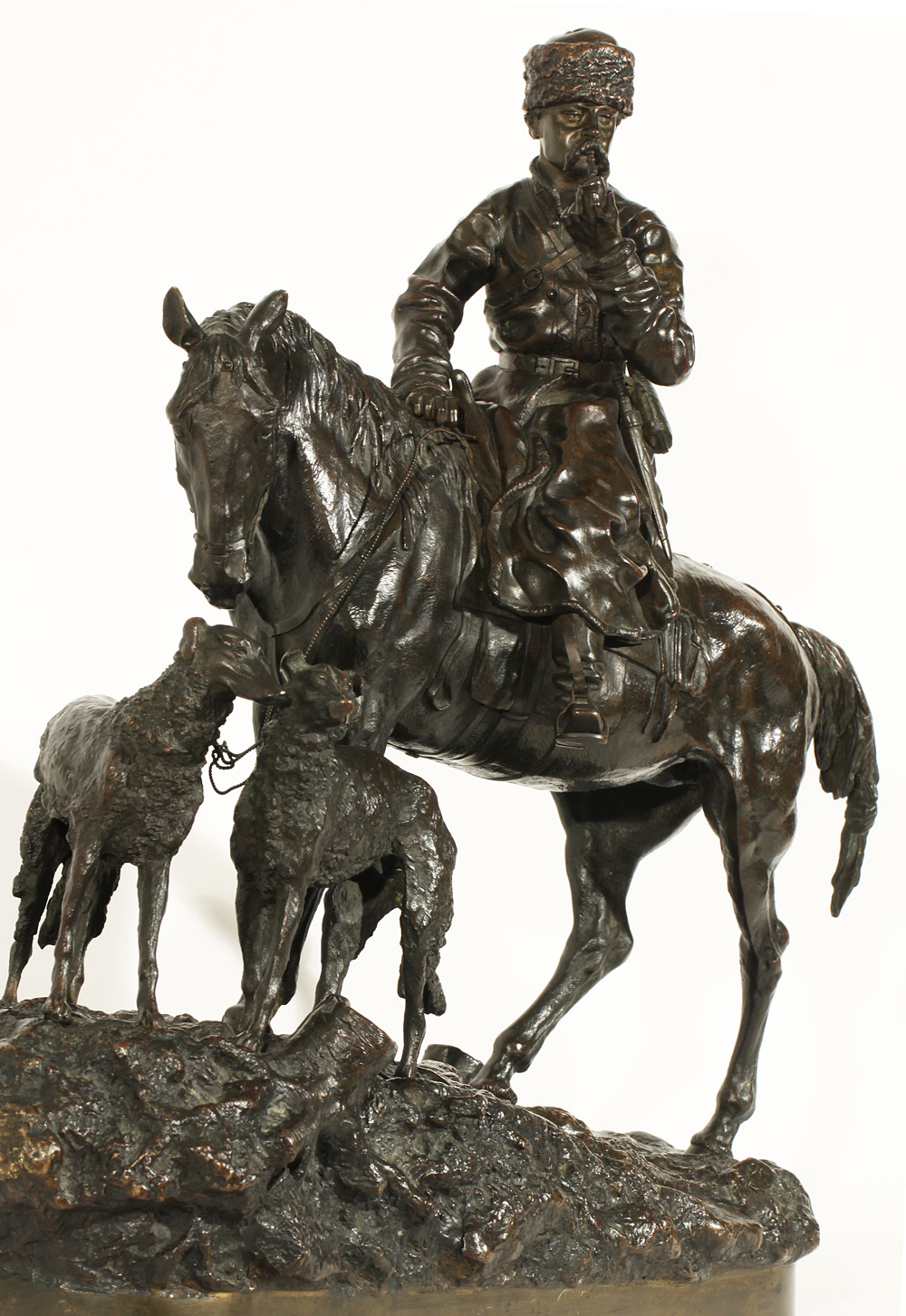 A Cossack huntsman on horseback smoking -Охота Василий Грачев бронза