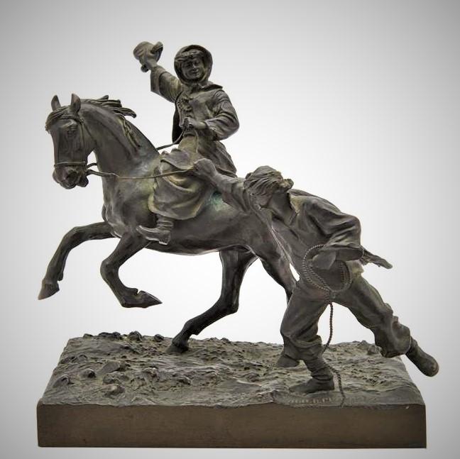Грачев Василий бронза женщина на коне со шляпой мужик бежит