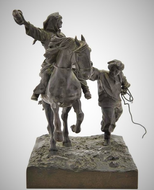 Грачев Василий бронза женщина на коне со шляпой мужик бежит рядом
