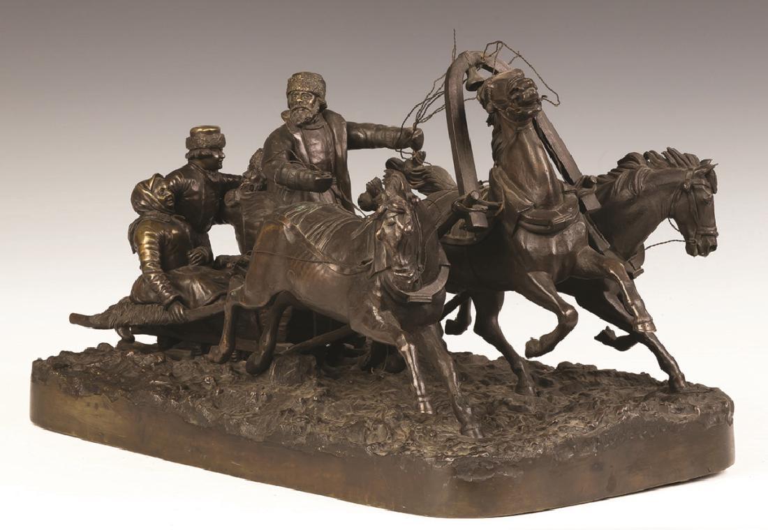 Евгений Напс зимняя Тройка четверо в санях бронза скульптура