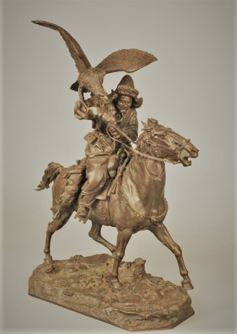 Скульптор Евгений Александрович Лансере бронза Киргиз на коне охота беркут шопен