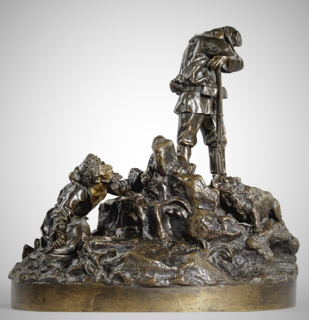 Vasily Yakovlevich Grachev Russian Sculptor bronze Turkestan soldier on guard with dog and Turkman sneaking up