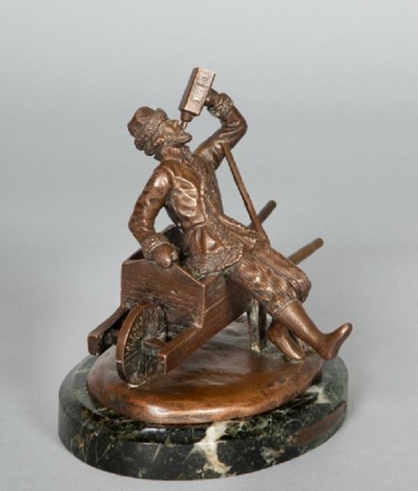 Felix Rasumny Russian bronze statue of a man drinking