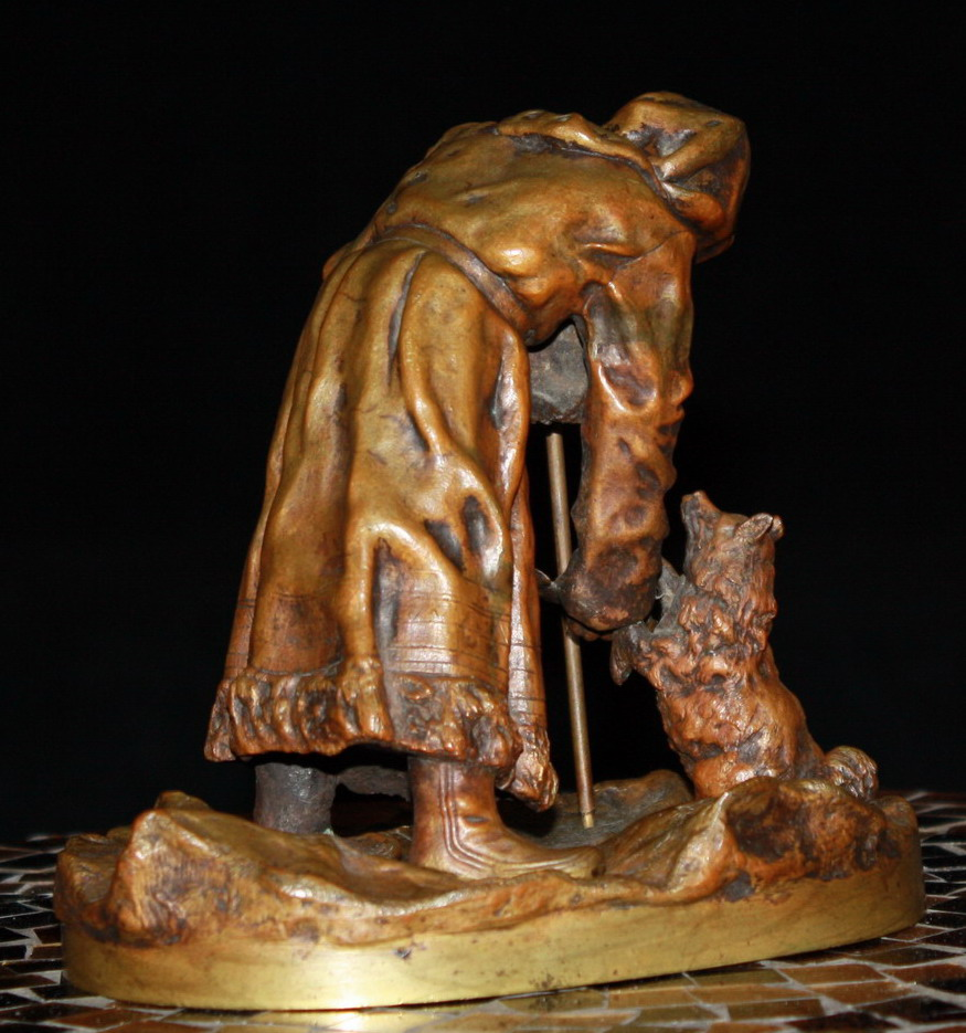 Vasily Yakovlevich Grachev Russian bronze aleutian woman feeding dogs