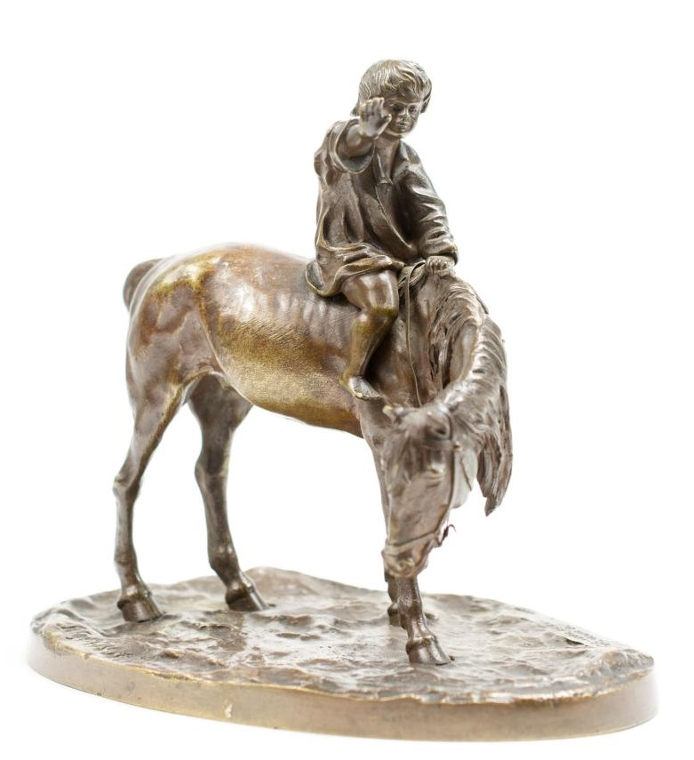 small boy on horseback Russian bronze Gratchev Vassily signed in Cyrillic