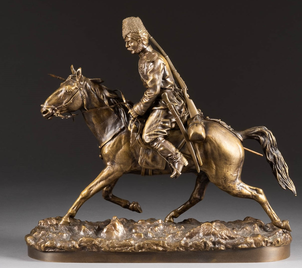 Samonoff russian cossack bronze statue value