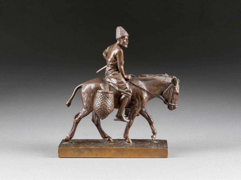 albert-moritz-wolf - Russian-asian-man-donkey-bronze-statue-value-indentification