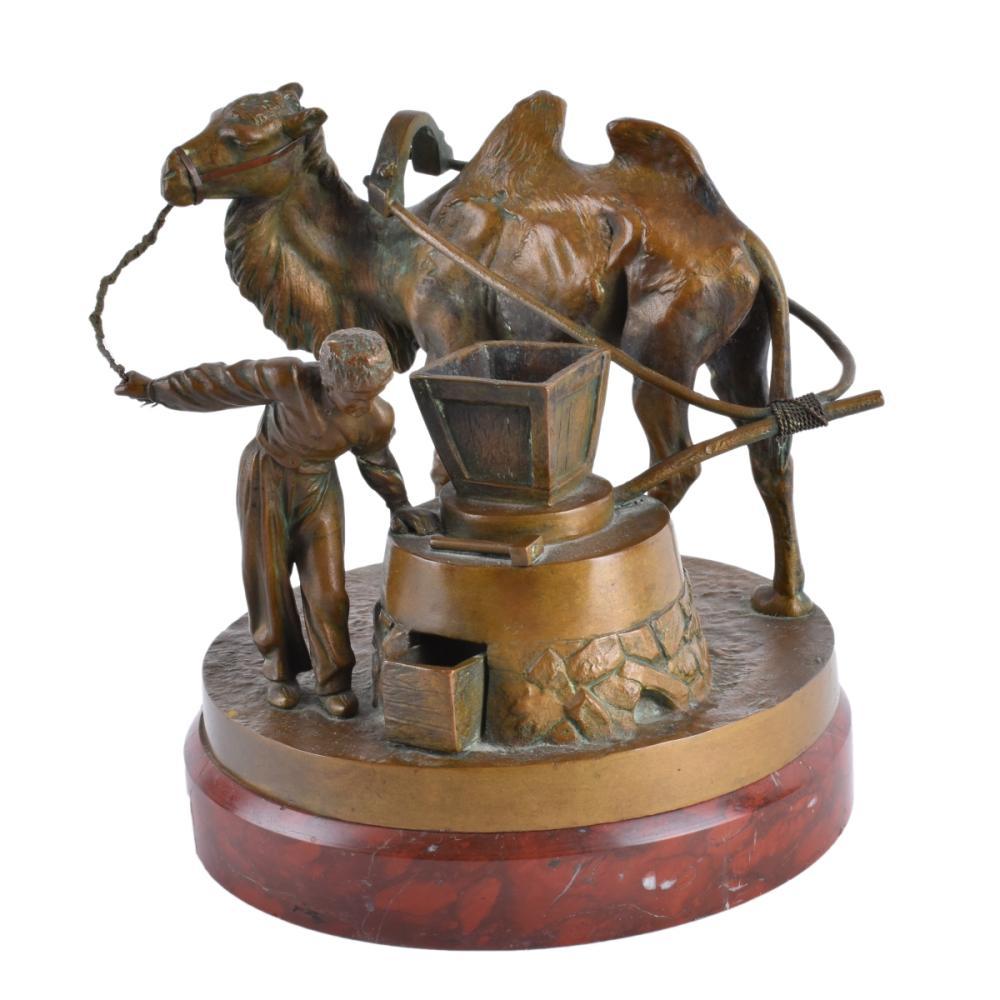 albert-moritz-wolf - caucasian_man-camel-russian-bronze-statue-cyrillic-signature-value