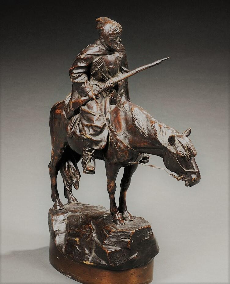 albert-moritz-wolf - cossack-horse-rider-rifle-bronze-sculpture