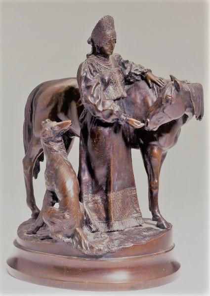 albert-moritz-wolf - girl-borzoy-horse-russian-bronze-statue