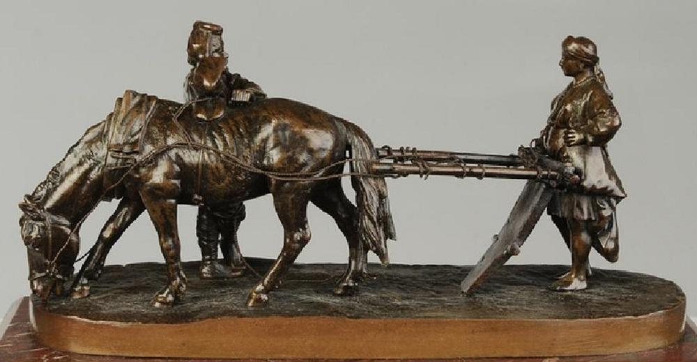 albert-moritz-wolf - plow-russian-bronze-wolff-moritz-break-peasants