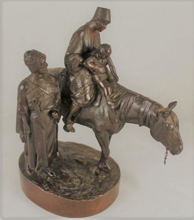 albert-moritz-wolf - riding-lesson-bronze-statue-cossack-kazak-man-child