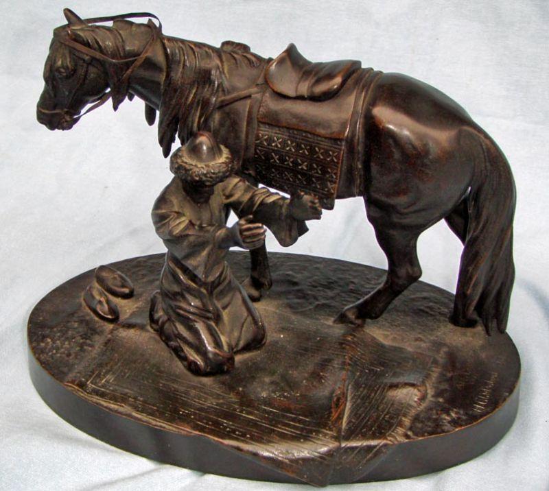 albert-moritz-wolf - russian-bronze-tatarin-man-praying-horse-gladenbeck-foundry