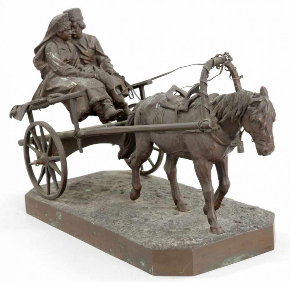 albert-moritz-wolf - two-ruders-russian-phesants-cossacks-bronze-statue