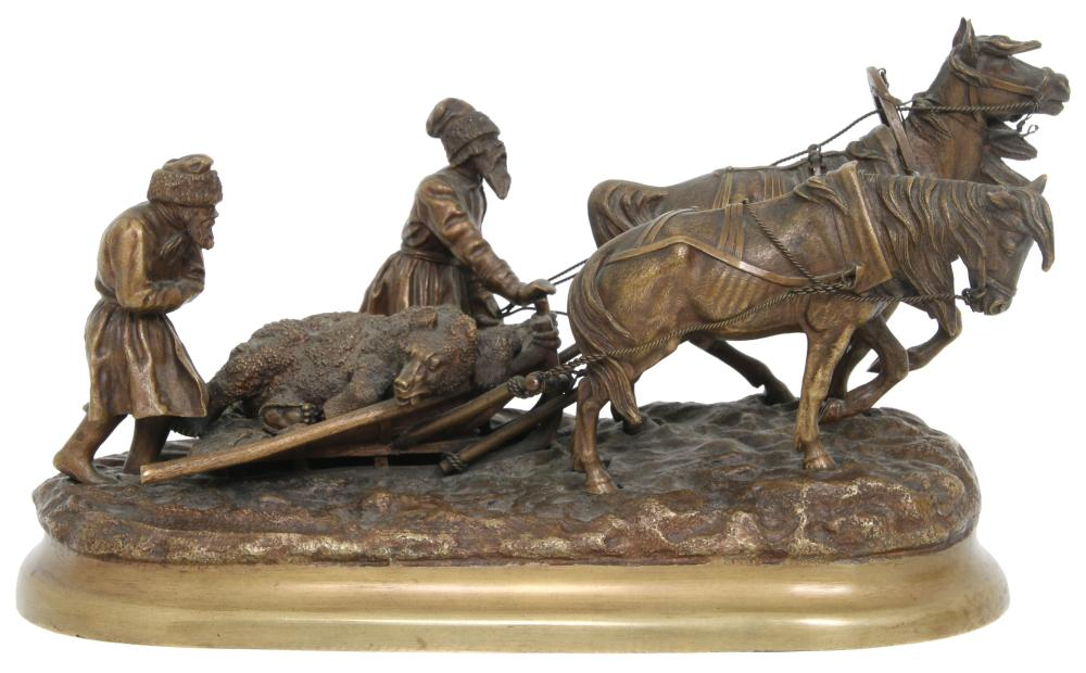 eugeny-naps - bear-hunt-bronze-russian-hunters-winter-sledge-return