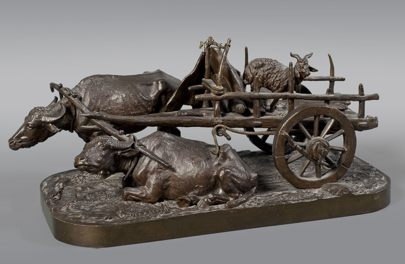 Horse-bull-cart - Bull_cart_Resting-bronze-Lanceray-russian-foundry-moscow