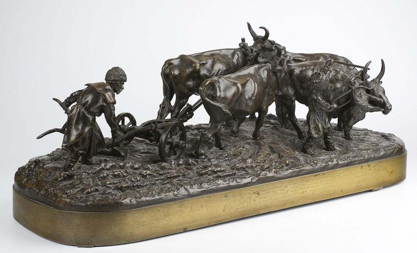 Horse-bull-cart - Lanceray-bronze-bulls-plowing_russian-пахарь-малорос-лансере