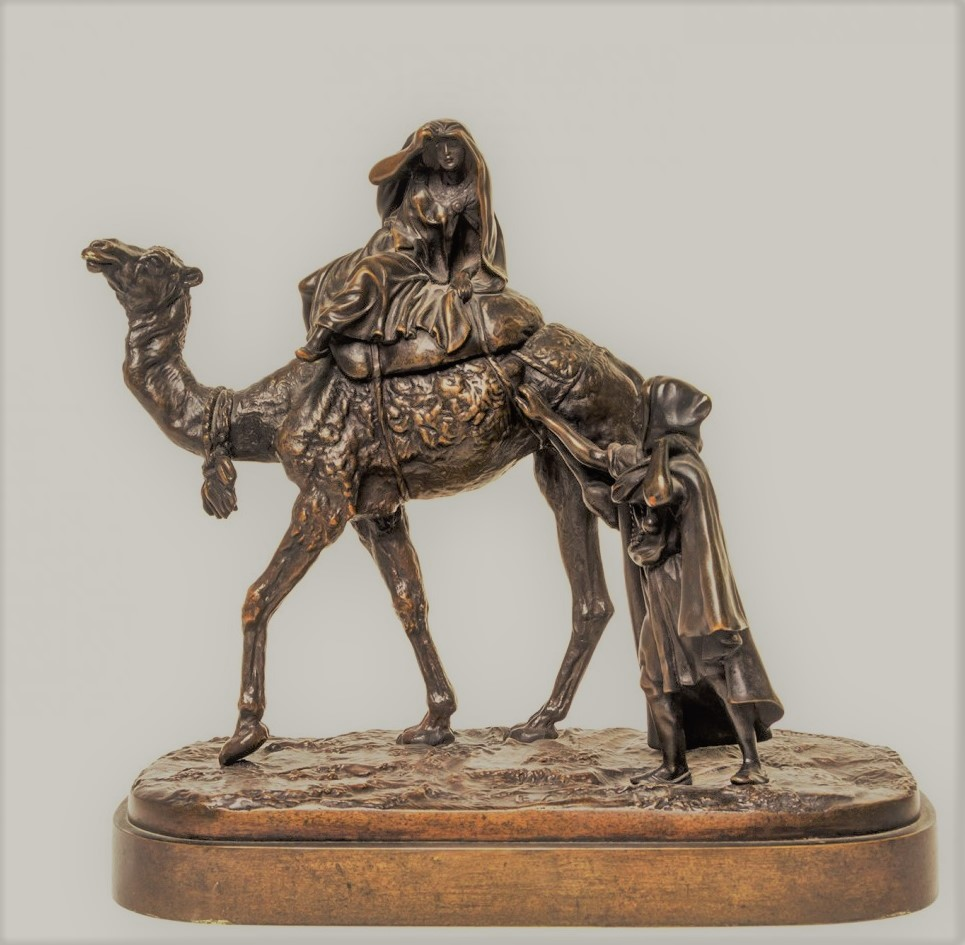 arab - lanceray-camel-russian-bronze-statue-woman