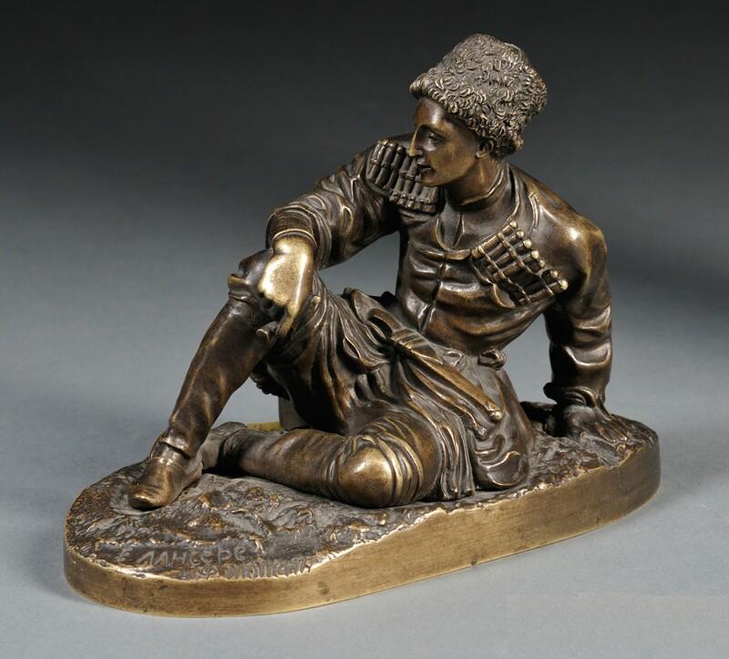 cherkes-cherkessian - Young_Ossetian_bronze-sculpture-lanceray молодой осетин сидячий с трубкой бронза