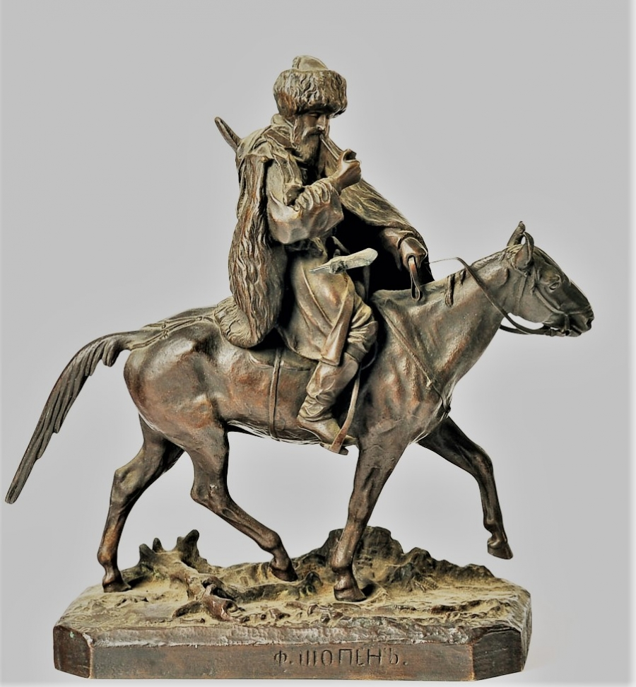 cherkes-cherkessian -Lanceray_Smoking_Rider_bronze