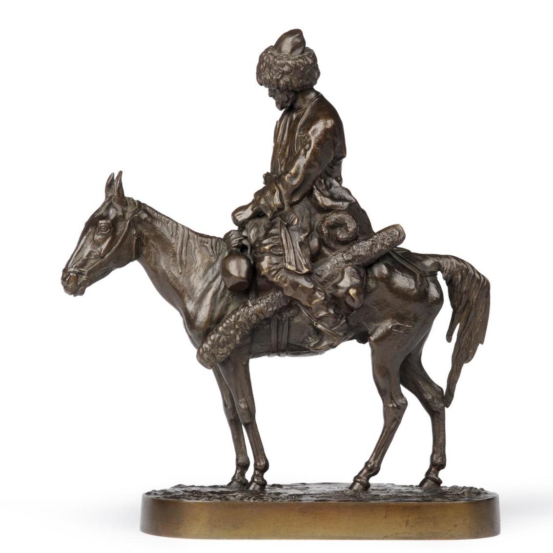 cherkes-cherkessian - russian-Ossetian_On_Horseback-bronze-Lanceray-buy-sell-sculpture