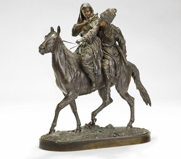 cossack - Cherkessian_couple-lanceray-bronze-horseback лансере пара на лошади бронза