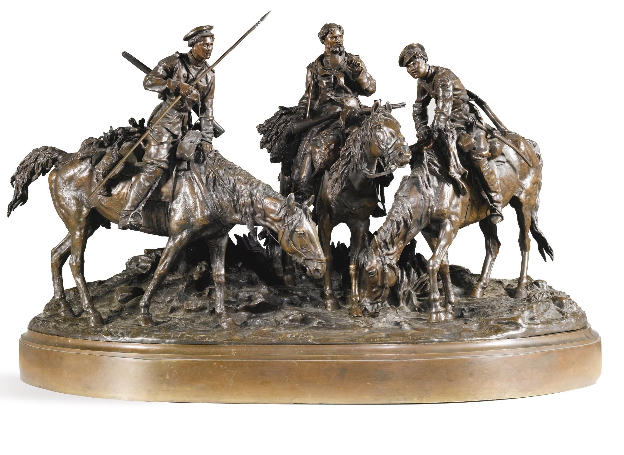 Фуражиры казаки лансере бронза - Lanceray-bronze-russian-three-cossacks-horseback-water-foundry