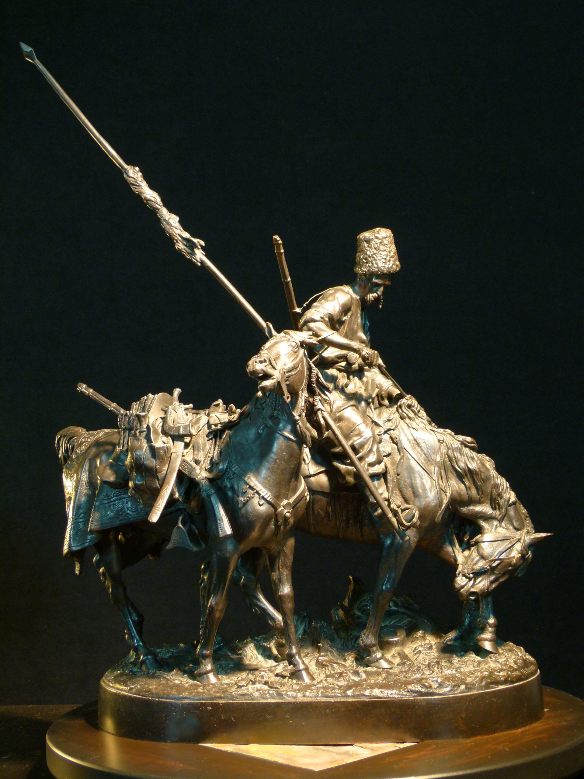 cossack - Trophu-horse-turkish-war-lanceray-bronze-statue-russia-shtange-foundry-mark