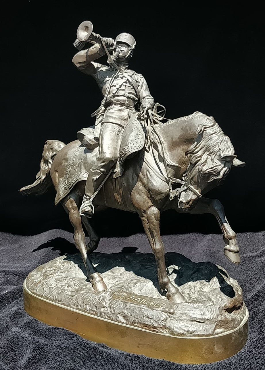 cossack - russian-bronze-bugler-horseback-lanceray-foundry-mark.petersbourg