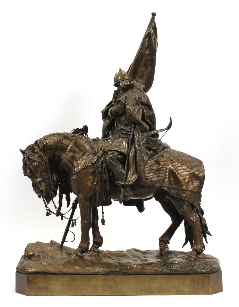 cossack - russian-bronze-warrior-lanceray-fatigué-banner-horse