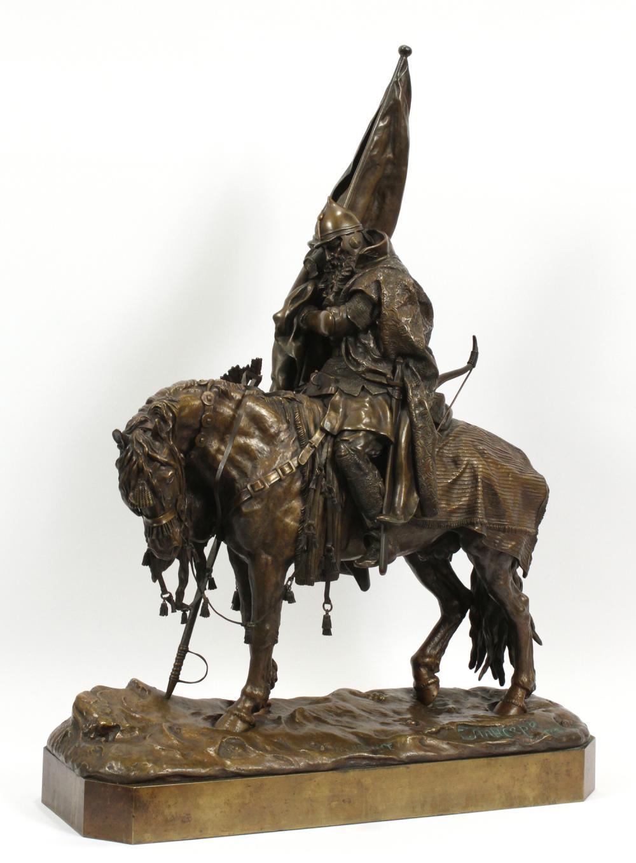 cossack - russian-bronze-warrior-lanceray-tired-banner-horse