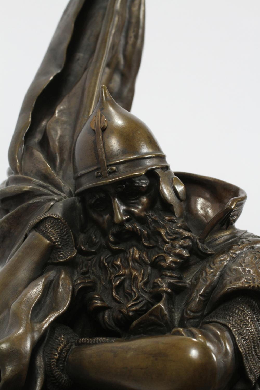 cossack - russisch-bronze-krieger-lanceray-müde-banner-pferd