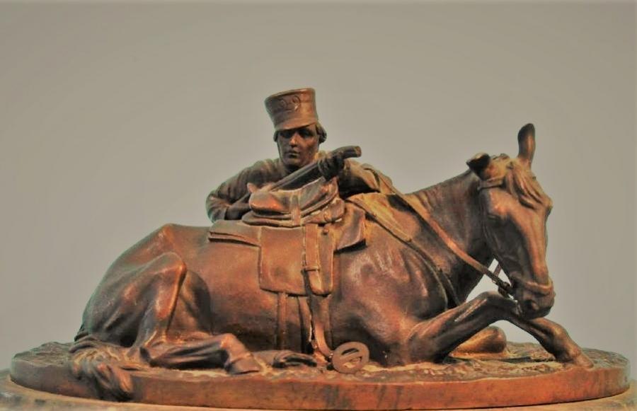 cossack - soldier-shooting-behind-horse-лансере-Lanceray-bronze бронза из-за лошади