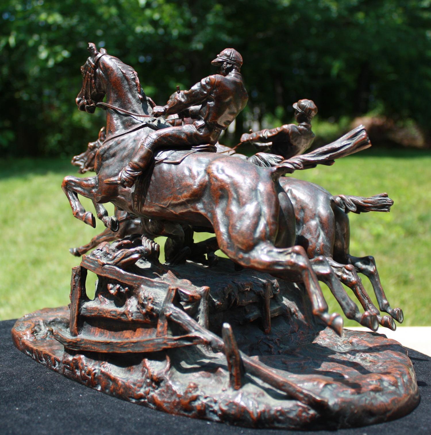 english - bronze-lanceray-chase-horses-russian-mark-cast