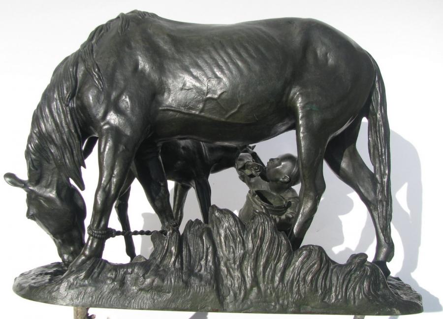 horses - Russian-Tatarchonok-Tatar-boy-Lanceray-bronze-2
