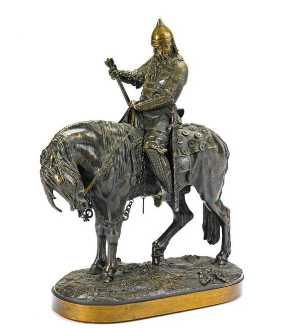 statue-sculpture-боярин морозов бронза лансере bogatyr - boyard-morozov-lanceray-bronze-statue-horse-rider