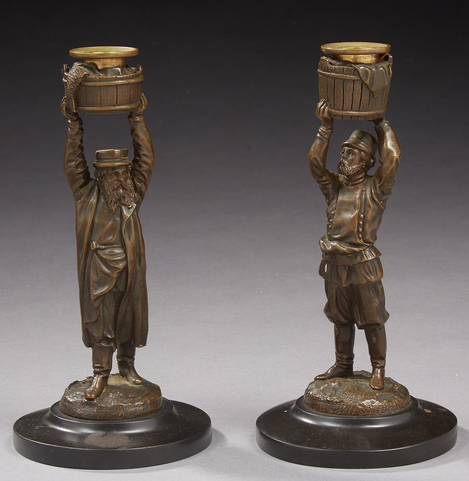 table-sets-desk - Lansere-Lanceray-bronze-candlesticks-подсвечники-лансере-бронза