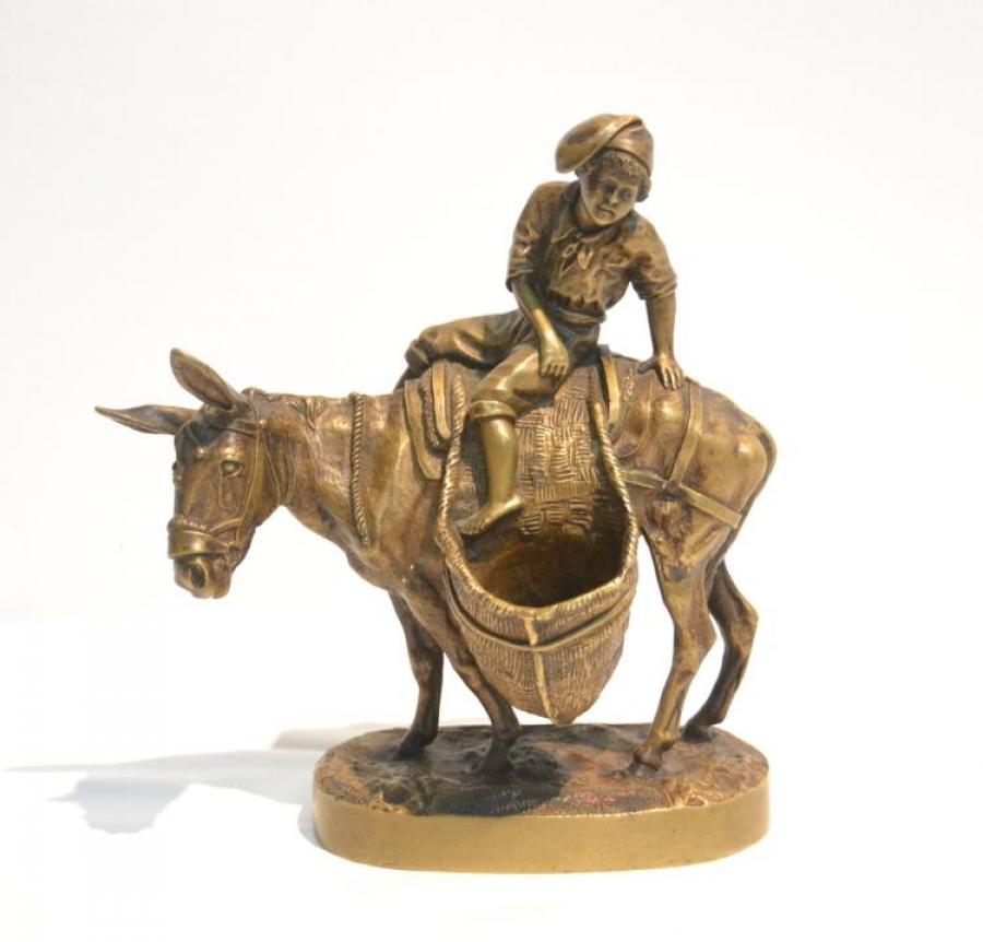 table-sets-desk - Neapolitan-boy-donkey-russian-lanceray-statue-bronze