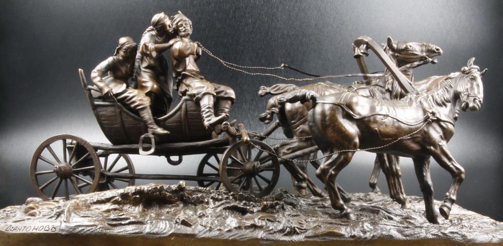 troika - peasants-summer-troika-lanceray-russian-bronze