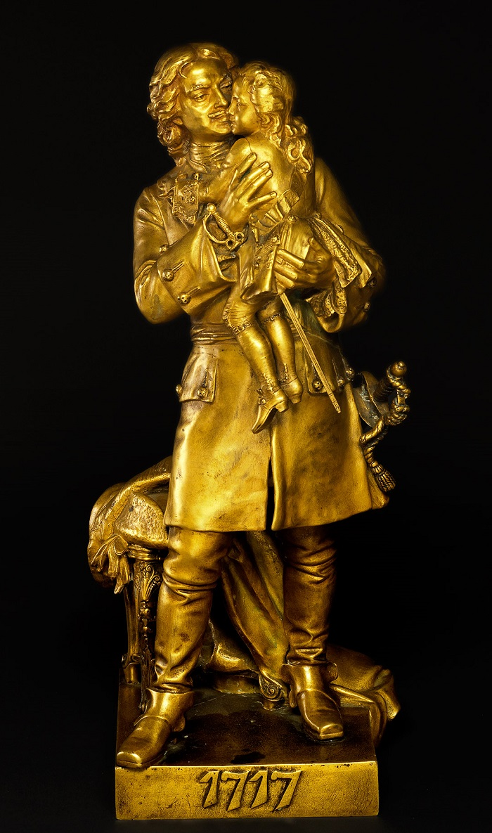 leopold-bernstamm - Peter-the-great-holding-louis-bernstamm-bronze-sculpture