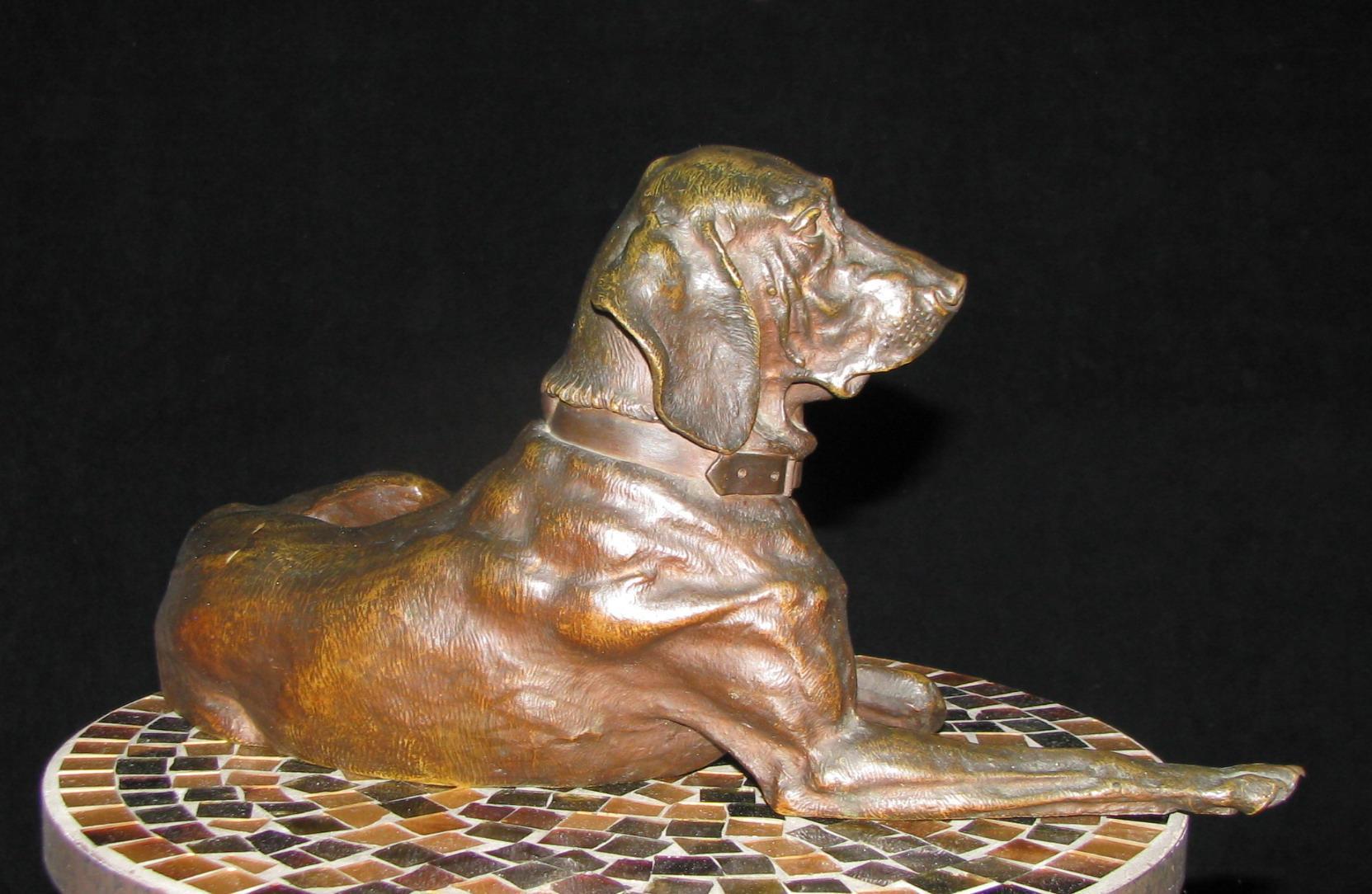 Nikolay Ivanovich Lieberich pointer dog reclining bronze Russian statue