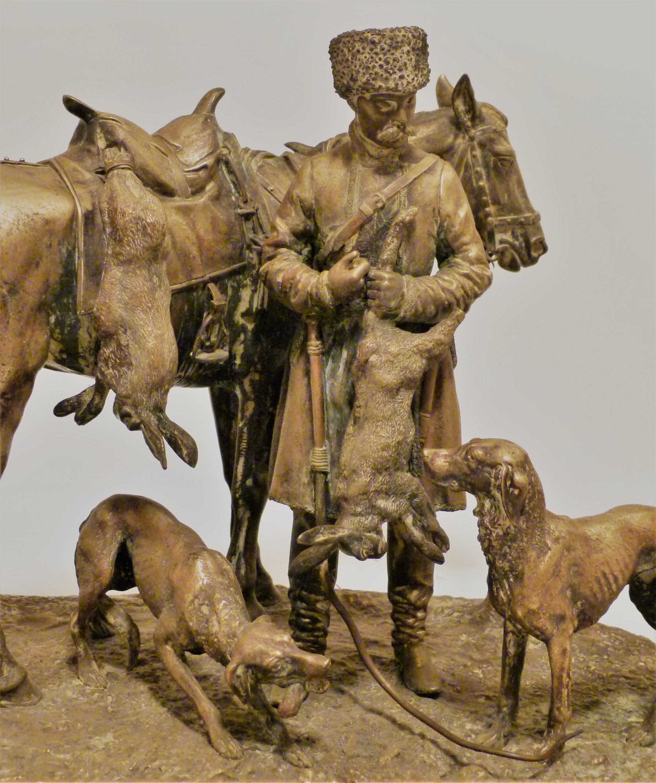 nikolay-ivanovivh-leiberich - Russian-bronze-rabbit-hunting-cossack-with-horse