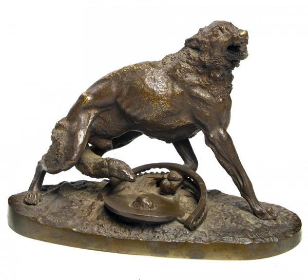 nikolay-ivanovivh-leiberich - bronze-wolf-trapped-nikolay-lieberich-statue