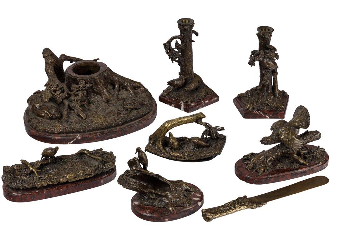 robert-roman-bach-Роман Бах скульптор письменный набор бронза сцены животные и охото